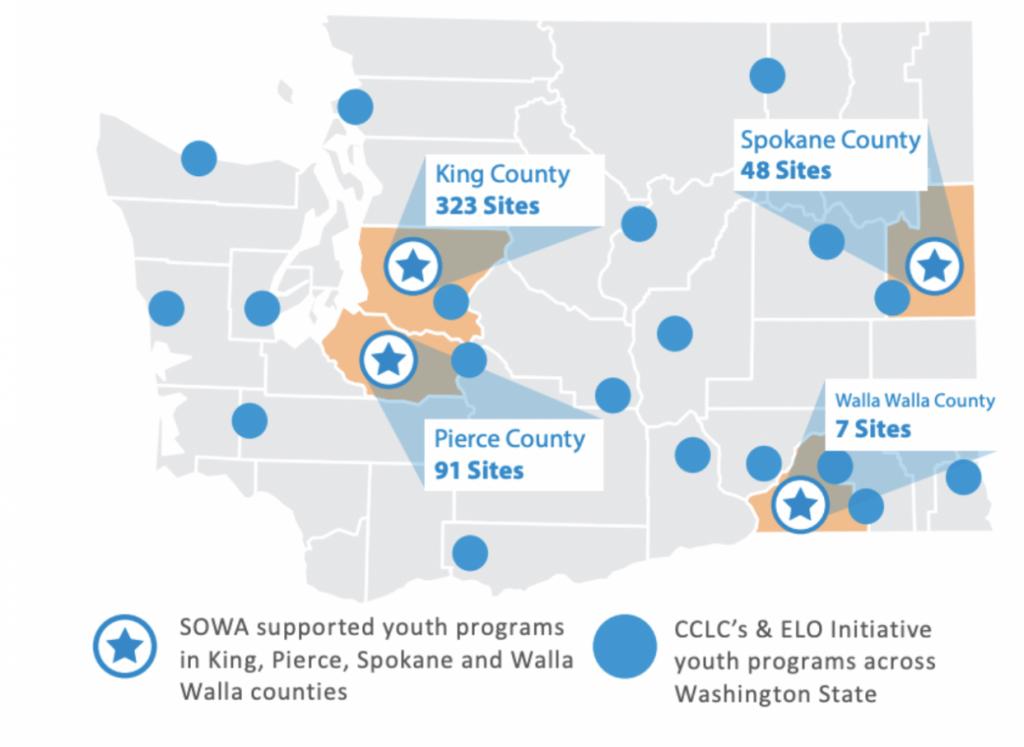 Map showing PQA sites throughout Washington State